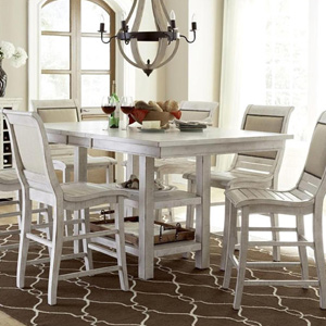 """TEMPOE Leasing - Furniture Willow 60"""" Rectangular Counter Table - Distressed White"""