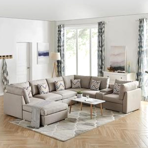 Contemporary Home Living Set of 8 Tan Beige Amira Fabric Reversible Modular Sectional Sofa with USB Console and Ottoman