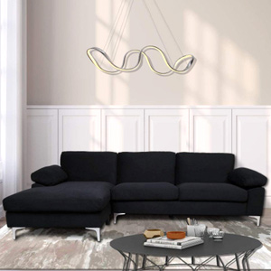 TEMPOE Leasing - Black Velvet Sectional Sofa with an Extra-Wide Chaise Lounge