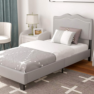 TEMPOE Leasing - Upholstered Linen Twin Platform Bed Frame with Curved Fabric Headboard